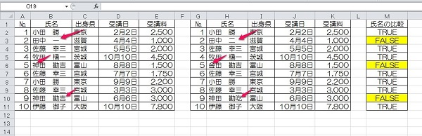 excel 比較