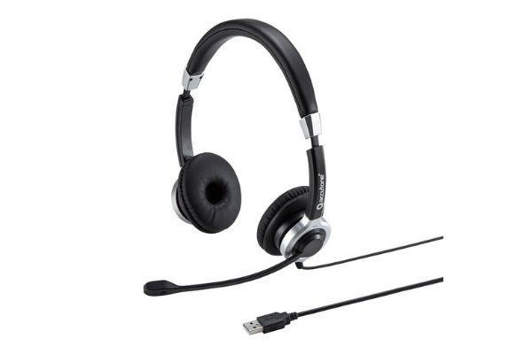 アクティブノイズキャンセリングマイク付きUSBヘッドセット 両耳タイプ