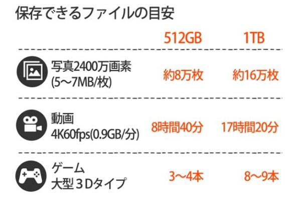選べる容量・512GBと1TB 選ぶ目安・POLYBATTポータブルミニSSD201